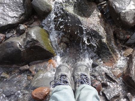 Overlooking a mountain stream