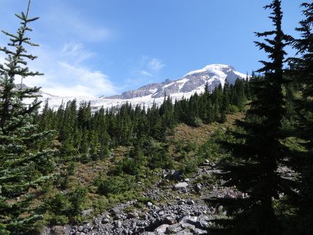 mount baker: The view of Mount Baker and Kulshan Creek from a trail