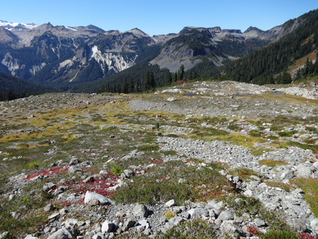 table mountain national park: The slope of Lake Ann Trail