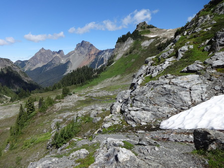 butte: The view of American Border Peak from Yellow Aster Butte Trail Stock Photo