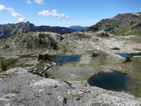 campsite: Glacier carved tarns at a campsite of Yellow Aster Butte