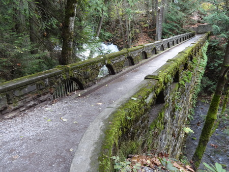 wooded path: An old stone bridge at Whatcom Falls Park
