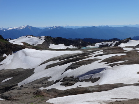 north ridge: Snow covered Ptarmigan ridge and the view of North Cascades