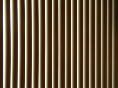 window shades: Morning sunlight through Vinyl Blinds Stock Photo