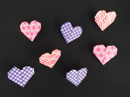 heart shaped: Heart shaped origami papers Stock Photo