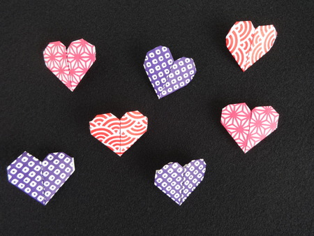 shaped: Heart shaped origami papers Stock Photo