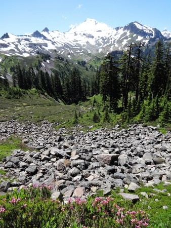A slope of scree and snow covered Mount Baker in summer Stock Photo