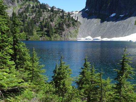 caved: Iceberg Lake in the Mount Baker Wilderness in summer