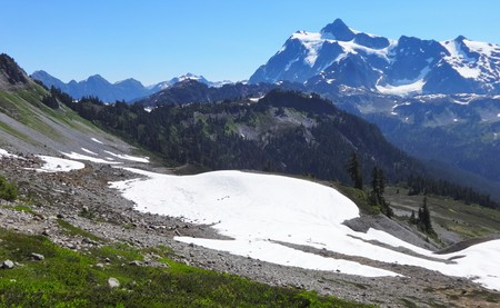 Picturesque Mount Shuksan and snow fields view from Chain Lakes Trail