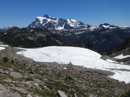 snow fields: Picturesque Mount Shuksan and snow fields view from Chain Lakes Trail