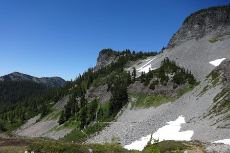 Scree cover area of Chain Lakes Trail in the Mount Baker Wilderness