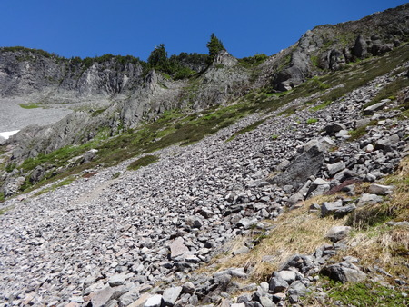 New and old Scree cover on a mountain slope