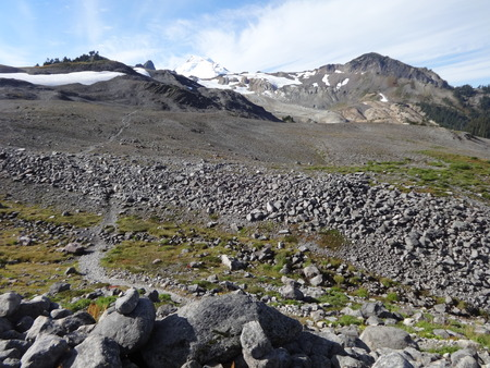 Moonscape looks like the Ptarmigan Ridge trail in Mount Baker, Washington