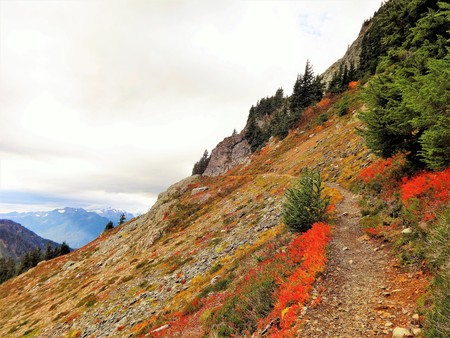 winchester: Storm approaching in the sky and fall color on a mountain trail Stock Photo