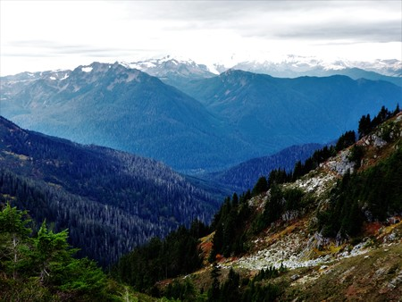 Snow covered peaks of North Cascades and deep forested valley
