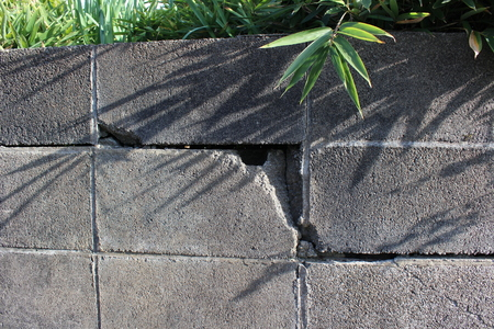 Block wall cracked by an earthquake
