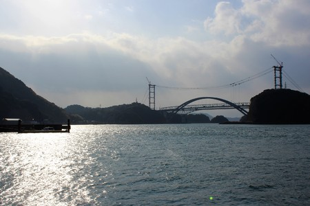A far away view of the new bridge construction in Amakusa islands, Japan