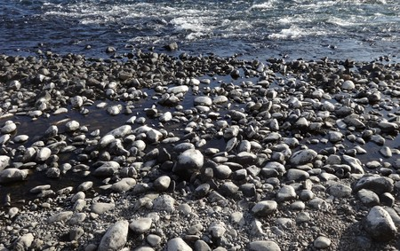 Rocks and pebbles in the Kuma River in Japan Stock fotó