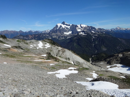 A panoramic view of Mount Shuksan from Ptarmigan Ridge trail
