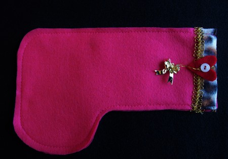 A handmade pink felt Christmas stocking Banque d'images