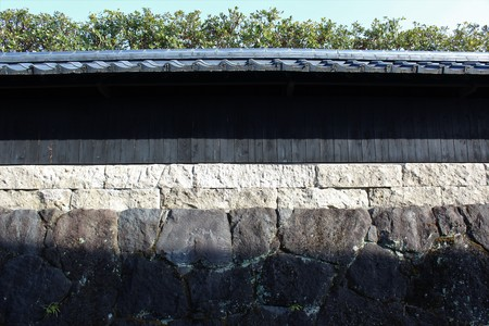 A traditional style stone wall in Japan 스톡 콘텐츠