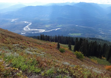 Fall foliage on Saul Mountain with a view of Skagit Valley