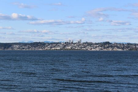 Windy Semiahmoo Bay and a distant view of White Rock, BC, Canada