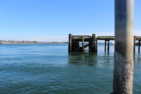 An old run down pier in a bay