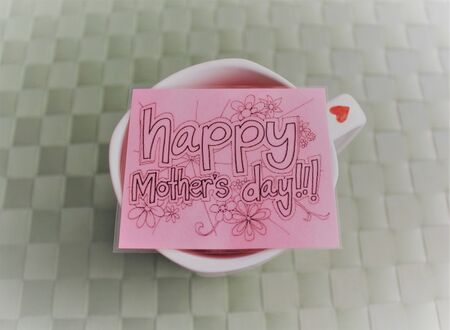 Handmade cup and a message card for Mother's Day