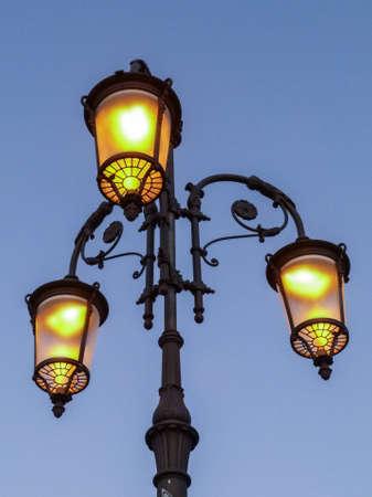 metall lamp: Illuminated street light Stock Photo