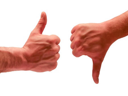 Men hands Thumbs Up Thumbs Down Stock Photo