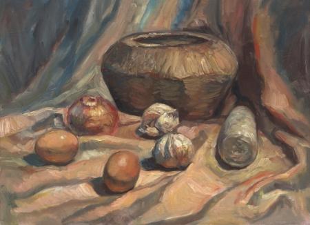 still life oil painting photo