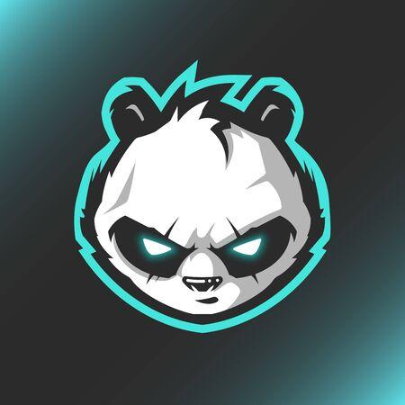 Head Panda Logo Mascot Vector Illustration