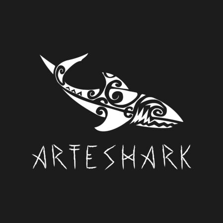 Shark logo design with archeological mixing uses antique concepts 일러스트