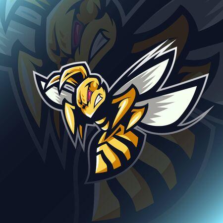 Angry bee e sport mascot design