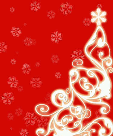 furtree: New Years openwork fur-tree on a red background with snowflakes Stock Photo