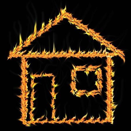 house on fire: La casa en llamas sobre un fondo negro un incendio Foto de archivo