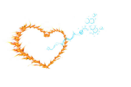 Fiery congratulatory heart and water arrow on a white background photo
