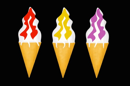 Three portions of ice-cream on a black background photo