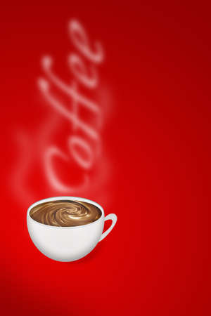 fragrant: Cup of fragrant coffee on a red background