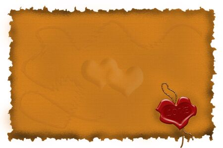 fire heart: Congratulatory heart in the form of the sealing wax press against old parchment Stock Photo