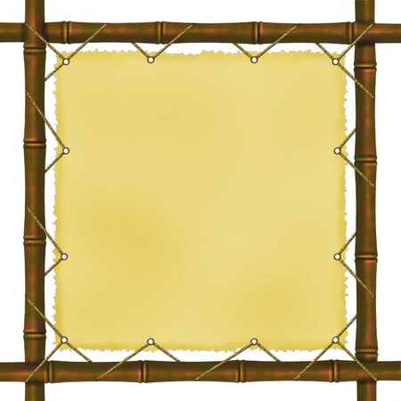 Framework from bamboo branches on a white background Stok Fotoğraf