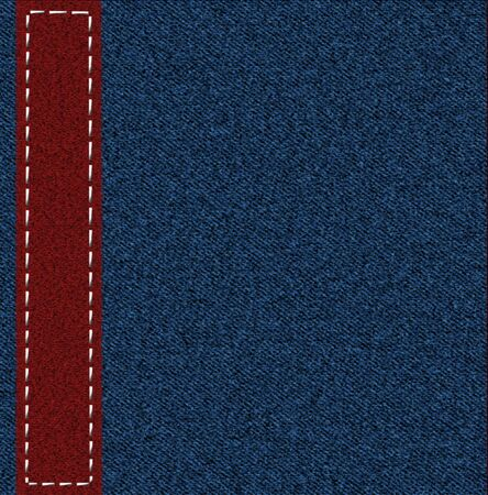 Background from a jeans fabric with a red patch photo