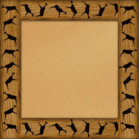 Wooden brown framework with the African animals Фото со стока