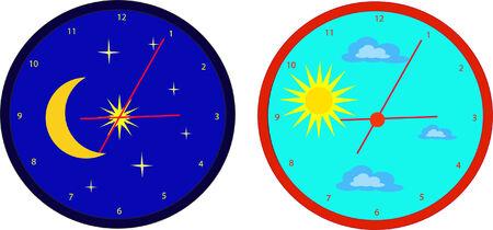 dia y noche: Par de relojes que simboliza el d�a y noche Vectores