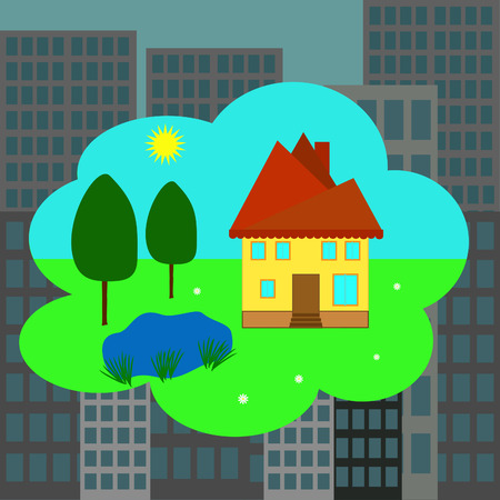 Rural bright small house against a gloomy city Stock Vector - 8915698