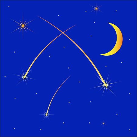 meteor shower: Meteoric shower, half moon against the star sky Illustration
