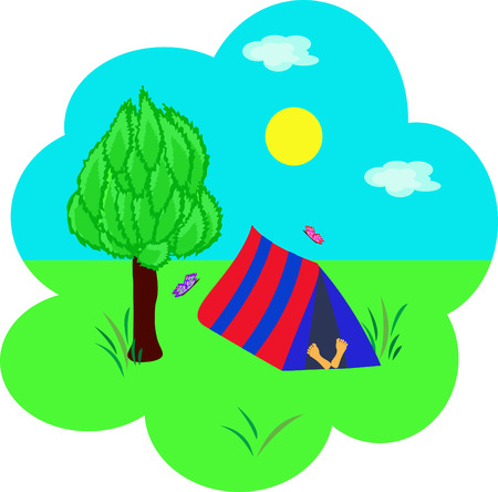 Tourism, tent under a tree and the sleeping person Vector