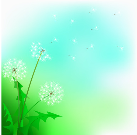 Flight of a dandelion against the blue sky Stock Vector - 8915703