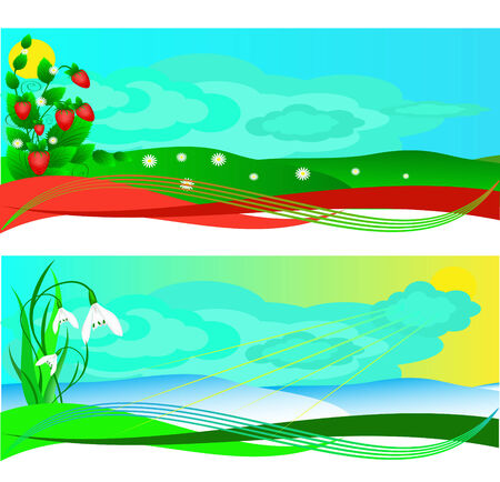 Set of banners with a strawberry and snowdrops, spring and summer Vector